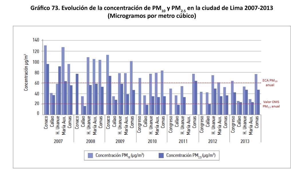 Grafico 73 Evolucion de la concentracion de PM10