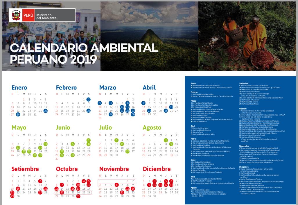 Calendario Marzo 2020 Peru.Calendario Ambiental Ministerio Del Ambiente