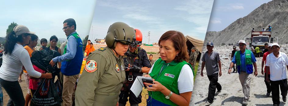 El Ministerio del Ambiente junto al Ejército, la Mariana de Guerra y la Policía Nacional del Perú continúan atendiendo a  más de 15 zonas afectadas del Sur Chico