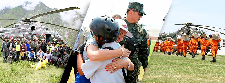 El Ministerio del Ambiente con apoyo de helicópteros de la Policía y del Ejército atendió hoy: Huampara, Cochas y Quinches, San Gerónimo y Santa Rosa de Caputish